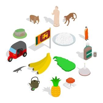 Sri lanka icon set, isometrische stil Premium Vektoren