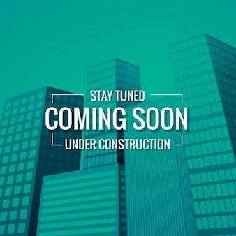 Sstay tuned kommt bald text mit gebäude am hintergrund