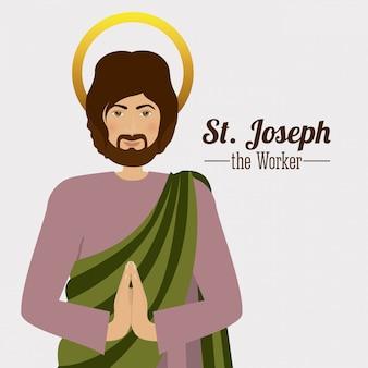 St. joseph mit seinen händen in einer betenden geste