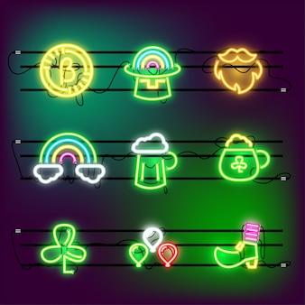 St partricks day icon set neon in kraft.