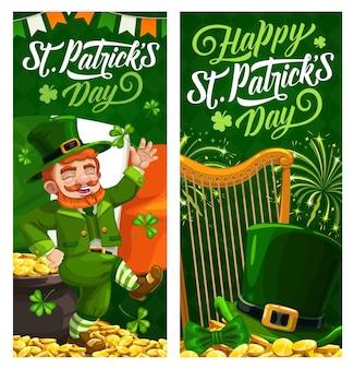 St. patrick day cartoon banner mit kobold im grünen zylinder tanzen auf goldenen münzen