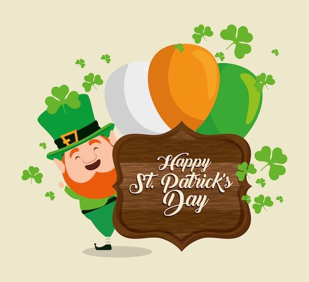 St patrick day feier mit emblem und luftballons