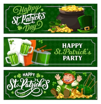 St. patrick day irish festival feiertagsbanner Premium Vektoren