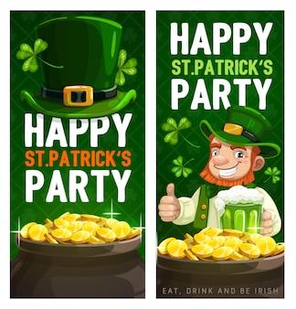 St. patrick day karikatur banner mit kobold im grünen zylinder