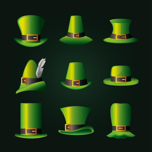 St. patrick grüne irische hüte feiern glückliche dekorationsikonenillustration