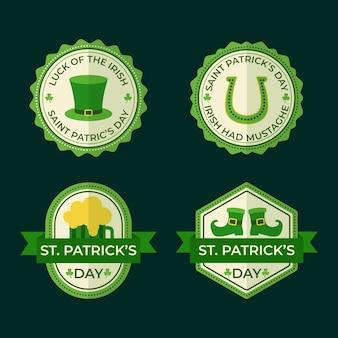 St. patrick's day abzeichensammlung im flachen design