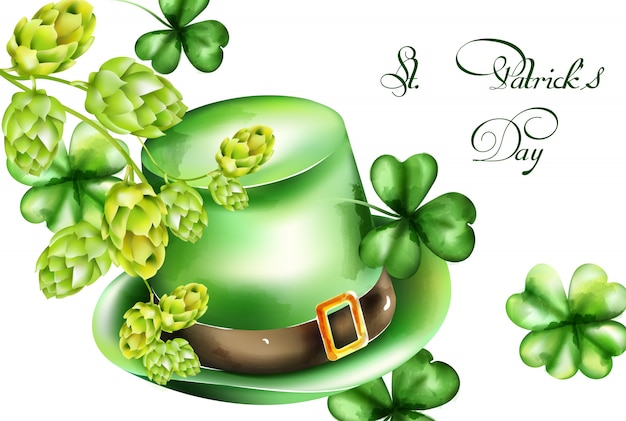St. patrick's day aquarell grüner hut und kleeblattzweig, artischockendekorationen