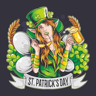 St. patrick's day die schöne fee bringt ein bier.