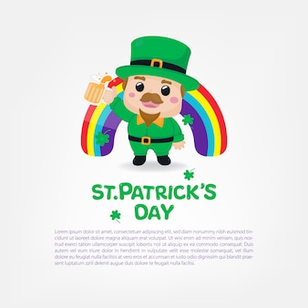 St. patrick's day einladungskarte. charakter-design. glücklicher st. patrick's day.