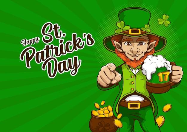 St. patrick's day einladungskarte. charakterdesign für banner oder webseite, illustrationsfeier-partyplakatdesign auf grünem hintergrund.