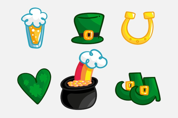 St. patrick's day element set handgezeichneten stil