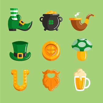 St. patrick's day elementsammlung in flacher bauform