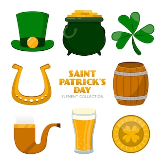 St. patrick's day elementsatz flache bauform