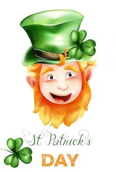 St. patrick's day elf mit ingwer bart, grünem hut und kleeblatt