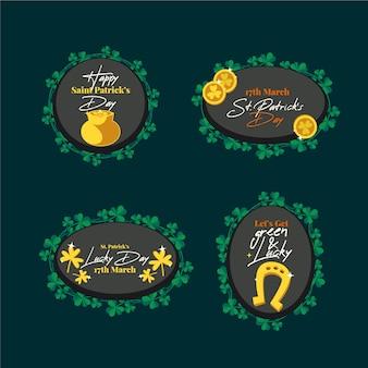 St. patrick's day etiketten und abzeichen flache bauform