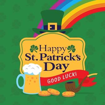 St. patrick's day event mit bier und regenbogen