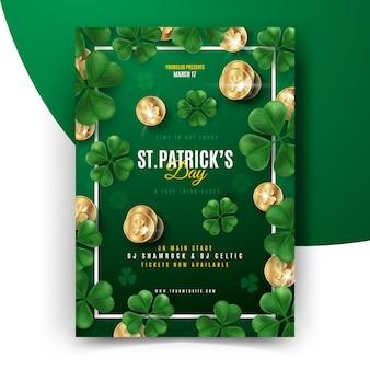 St. patrick's day flyer mit goldenen münzen
