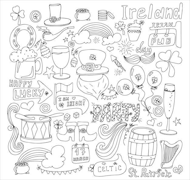 St patrick s day grußkarte mit handgezeichneten bildern eine doodle-vorlage für eine postkarte