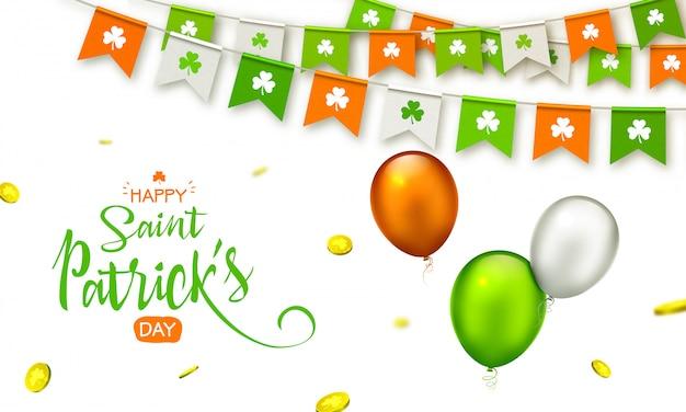 St. patrick's day hintergrund. girlanden mit symbol des klees, der fliegenden münzen und der ballone