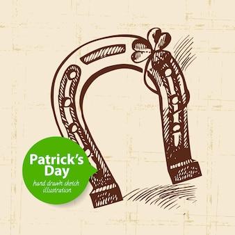 St. patrick's day hintergrund mit handgezeichneter skizzenillustration und blasenfahne