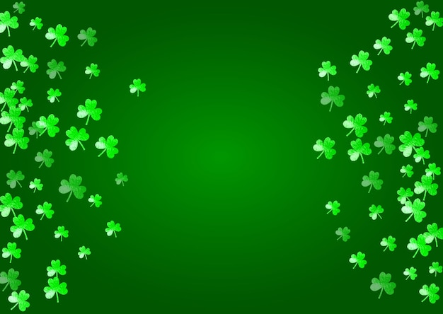 St. patrick's day hintergrund mit kleeblatt. glückliches kleeblatt konfetti. glitzerrahmen von kleeblättern.