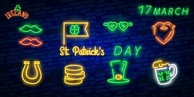 St. patrick's day icon set isoliert.