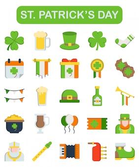 St. patrick's day icons im flachen stil