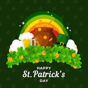 St. patrick's day illustration mit regenbogen und kessel der münzen