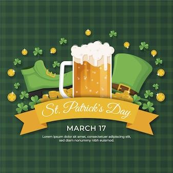 St. patrick's day im flat design mit bier