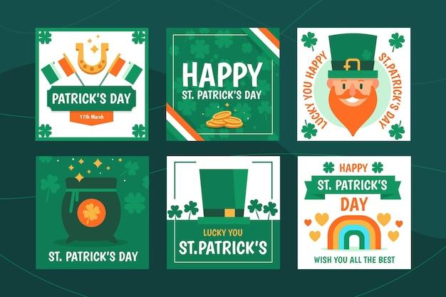 St. patrick's day instagram beiträge flaches design