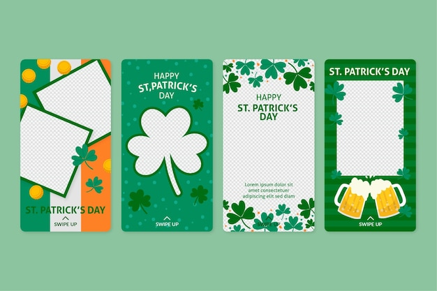 St. patrick's day instagram geschichten pack