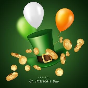 St. patrick's day karte. grüner koboldhut mit münzen und luftballons. grußfeiertagsentwurf.
