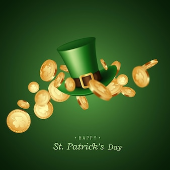 St. patrick's day karte. grüner koboldhut mit münzen.