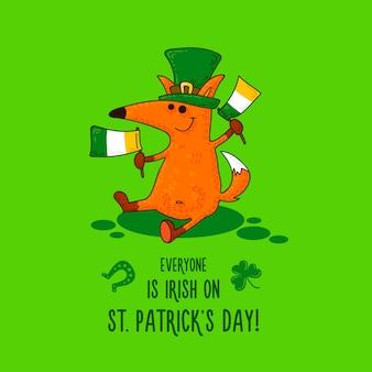 St. patrick's day-karte mit fuchs und irischen simbols