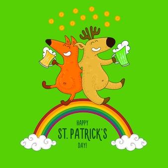 St. patrick's day-karte mit füchsen und irischen simbols