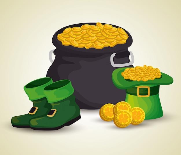 St. patrick's day kessel mit goldenen münzen und hut mit stiefeln
