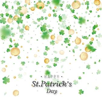St. patrick's day. kleeblätter und münzen mit unschärfeeffekt zur begrüßung des feiertagsdesigns.
