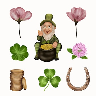 St. patrick's day kobold mit kleeblatt, münzen, hufeisen