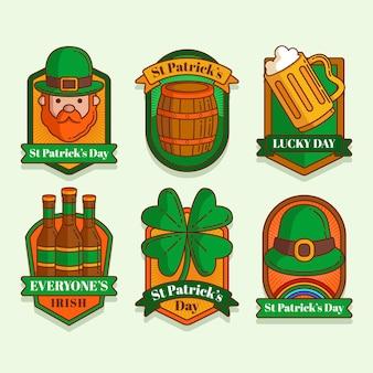 St. patrick's day label kollektion im flachen design