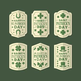 St. patrick's day label sammlung vintage-stil