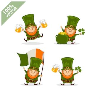 St. patrick's day. lustiger kobold mit aktivität mit vier verschiedenen haltungen.