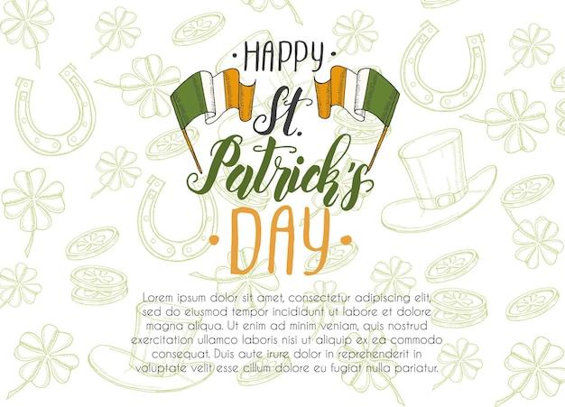 St. patrick's day mit handgezeichnetem gekritzel
