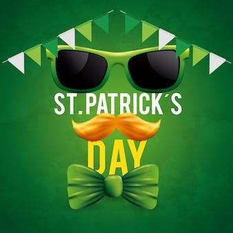 St. patrick's day mit sonnenbrille und schnurrbart