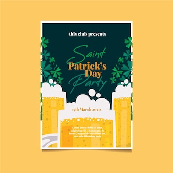 St. patrick's day party poster oder flyer vorlage