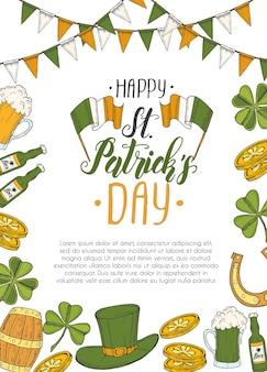 St. patrick's day poster mit hand gezeichnet