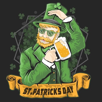 St. patrick's day-shamrock-bier-party-vektor