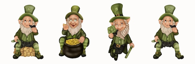 St. patrick's day vier kobolde mit gold