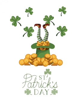 St patrick `s tagesaufkleber mit münzenikonen