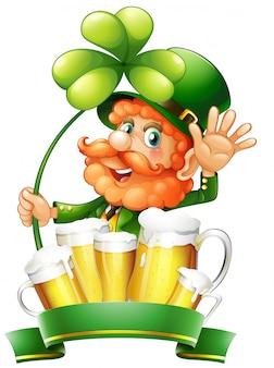 St patrick tag mit kobold und frischem bier