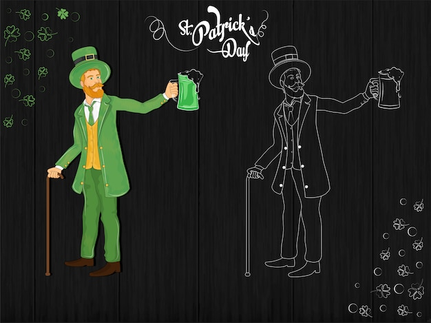 St patrick tagesfahnen- oder -plakatdesign mit koboldmann